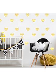 Adesivo De Parede Quartinhos Infantil Coração Amarelo Chevron