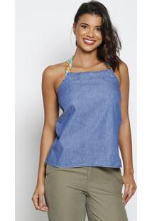 Blusa Frente Única Jeans - Azul & Verde Água - Thiptthipton