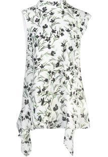 Nicole Miller Blusa Floral Sem Mangas - Branco