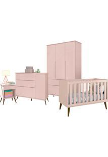 Dormitório Infantil Pr Baby Retrô Alice Com Berço Americano Théo Rosê