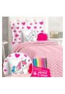Cobre Leito Infantil Menina 7 Peças Com Almofada Para Coloris + Canetinhas Para Pintar