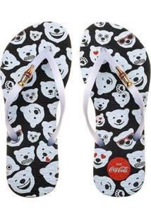 Chinelo Coca-Cola Polar Beer Emoji Feminino - Feminino-Preto+Branco