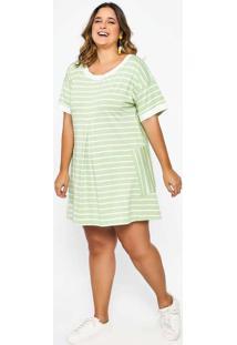 Vestido Listrado Almaria Plus Size Garage Verde