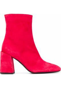 Furla Ankle Boot Com Zíper Lateral - Vermelho