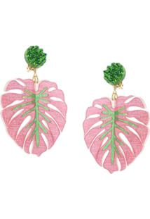 Mercedes Salazar Tropics Palm Oversized Earrings - Rosa