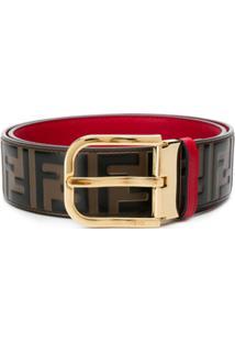 Fendi Cinto Com Logo Ff - Marrom