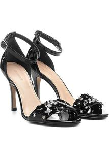 Sandália Shoestock Salto Fino Flores Feminina - Feminino-Preto