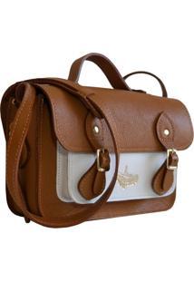 Bolsa Line Store Leather Satchel Mini Bicolor Couro Caramelo X Branco - Kanui