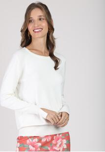 Suéter Feminino Em Tricô Decote Redondo Branco