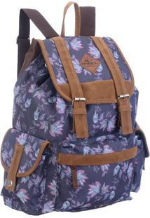 Mochila Floral- Azul & Marrom- 40X29X22Cm- Mc Qumc Queen