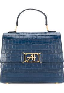 Alberta Ferretti Crocodile Embossed Tote Bag - Azul