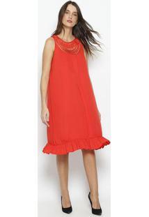 Vestido Com Pregas & Tiras- Vermelhobobstore
