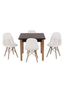 Conjunto Mesa De Jantar Luiza 80Cm Preta Com 4 Cadeiras Botonê - Branco