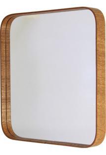 Espelho Quadrado Com Moldura Em Madeira 50X50Cm Mogno