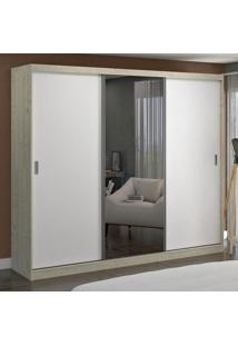 Guarda-Roupa Casal 3 Portas Com 1 Espelho 100% Mdf 7320E1 Marfim Areia/Branco - Foscarini