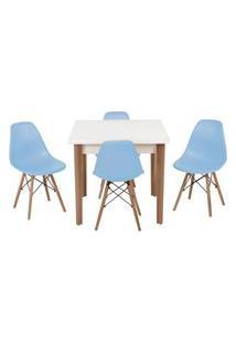 Conjunto Mesa De Jantar Luiza 80Cm Branca Com 4 Cadeiras Eames Eiffel - Azul Claro