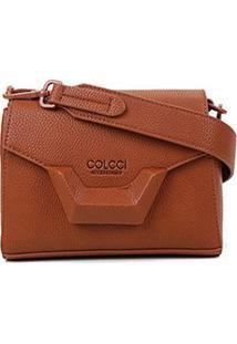 Bolsa Colcci Mini Bag Tampa Metal Feminina - Feminino-Caramelo