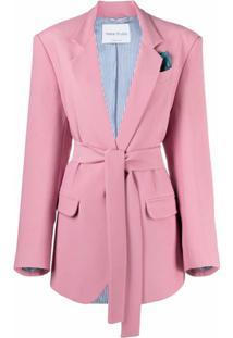 Hebe Studio Blazer Com Abotoamento Simples E Amarração Na Cintura - Rosa