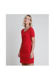 Vestido Feminino Curto Canelado Manga Curta Vermelho