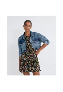 Jaqueta Cropped Jeans Com Bolsos Frontais E Elástico Na Barra | Blue Steel | Azul | M