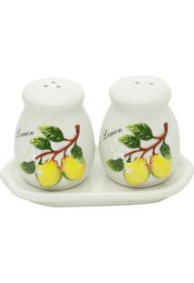 Jogo De Saleiro & Pimenteiro Com Bandeja Lemons- Branca Bon Gourmet