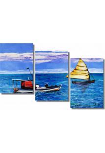 Quadro Painel Decorativo Dois Barcos Em Alto Mar Azul Branco
