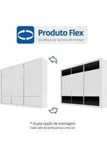 Guarda Roupa Casal 3 Portas De Correr Lotse Carioca Móveis Flex Color Branco/Preto