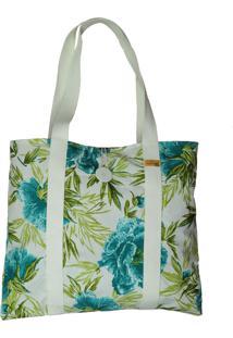 Bolsa Dona Cereja Praia Branco/Verde Floral