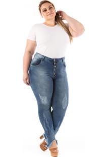 e290cd46b10af7 Calça Plus Size - Confidencial Extra Jeans Barra Desfiada E Botões Azul