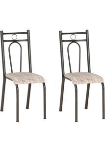 Conjunto 2 Cadeiras Hanumam Cromo Preto E Estampa Rattan