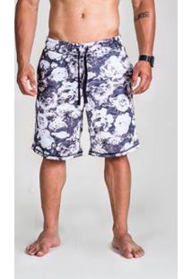 Bermuda Moletom Surty Floral Code Masculina - Masculino-Cinza+Branco