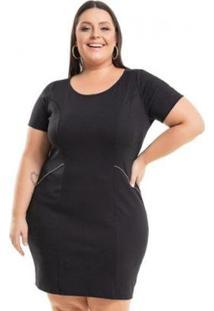 Vestido Beline Plus Size Ponto Roma Tubinho Miss Masy - Feminino-Preto