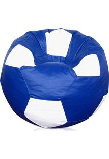 Puff Bola Super Courino Azul Royal/Branco - Phoenix Puff