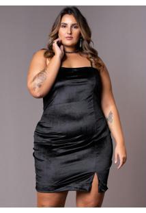 Vestido Veludo Preto Plus Size