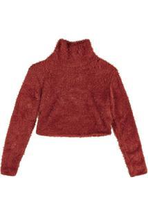 Blusão Em Tricô Pelinho Com Gola Alta Vermelho