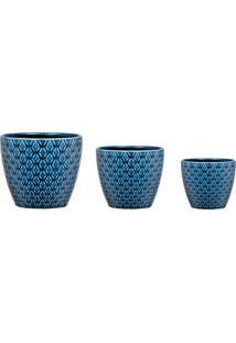 Kit Cachepot Mart Em Ceramica 3 Pcs Azul