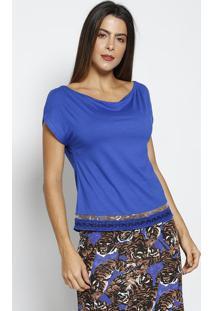 Blusa Lisa Com Tule- Azul Escuro & Bege- Thiptonthipton