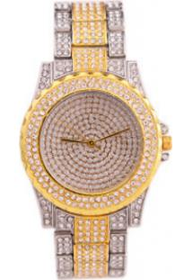 Relógio De Luxo Feminino Strass Bee Sister - Silver/Gold