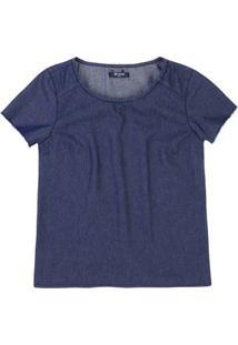 Blusa Jeans Feminina Em Algodão Com Detalhe Destroyed