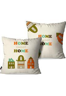 Kit Com 2 Capas Para Almofadas Pump Up Decorativas Home Sweet Home Fundo Branco 45X45Cm
