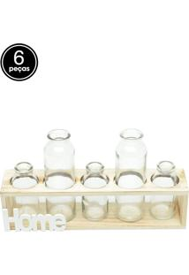 Vaso Decorativo Five Bottles Home Transparente 7,5X8X32,5Cm Urban