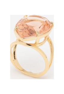 Anel Em Cristal Banhado A Ouro 18K- Dourado & Laranja Clkumbaya