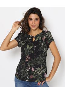 Blusa Floral Com Folhagens- Preta & Verde Escuro- Vivip Reserva