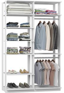 Closet Com Prateleiras Cabideiro Branco Lilies Mã³Veis - Multicolorido - Dafiti