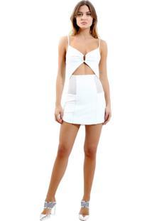 Vestido Rosa Chá Belize Curto Malha Off White Feminino (Off White, G)
