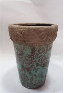 Vaso De Cerã'Mica Reto Verde C/ Flores Marrons E Detalhes Alto Relevo - Multicolorido - Dafiti