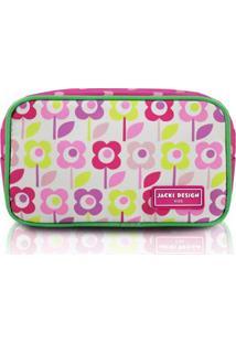 Necessaire Infantil Jacki Design Flor Microfibra Feminina - Feminino-Pink+Verde