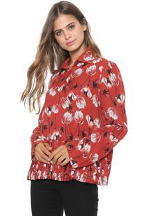 Camisa My Favorite Thing(S) Floral Plissada Vermelha