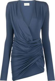 Alexandre Vauthier Vestido Drapeado Com Fenda Frontal - Azul