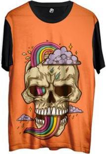 Camiseta Bsc Desenho Caveira Arco Íris Sublimada Masculina - Masculino-Laranja